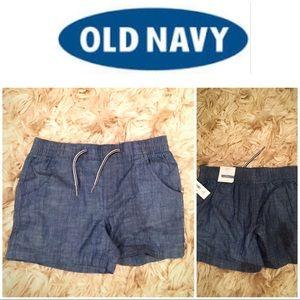 NWT old navy chambray shorts w drawstring girls